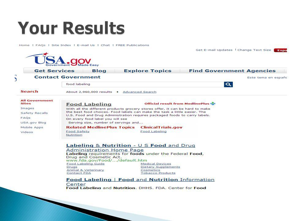 Your Results This search will lead you to the FDA – the appropriate agency that handles food labeling.