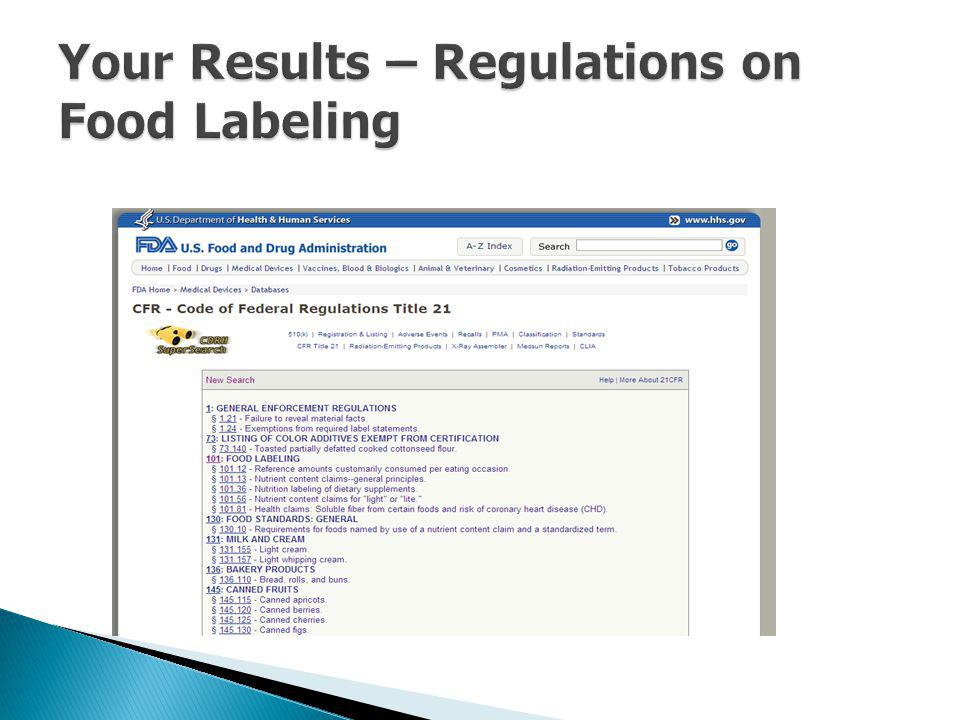 Your Results – Regulations on Food Labeling