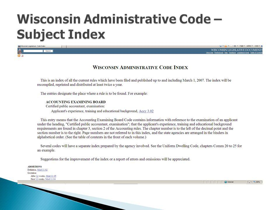 Wisconsin Administrative Code – Subject Index