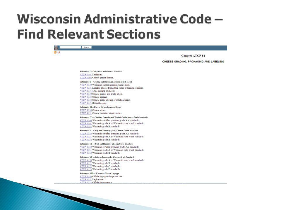 Wisconsin Administrative Code – Find Relevant Sections