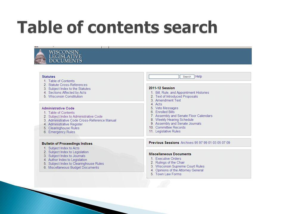 Table of contents search