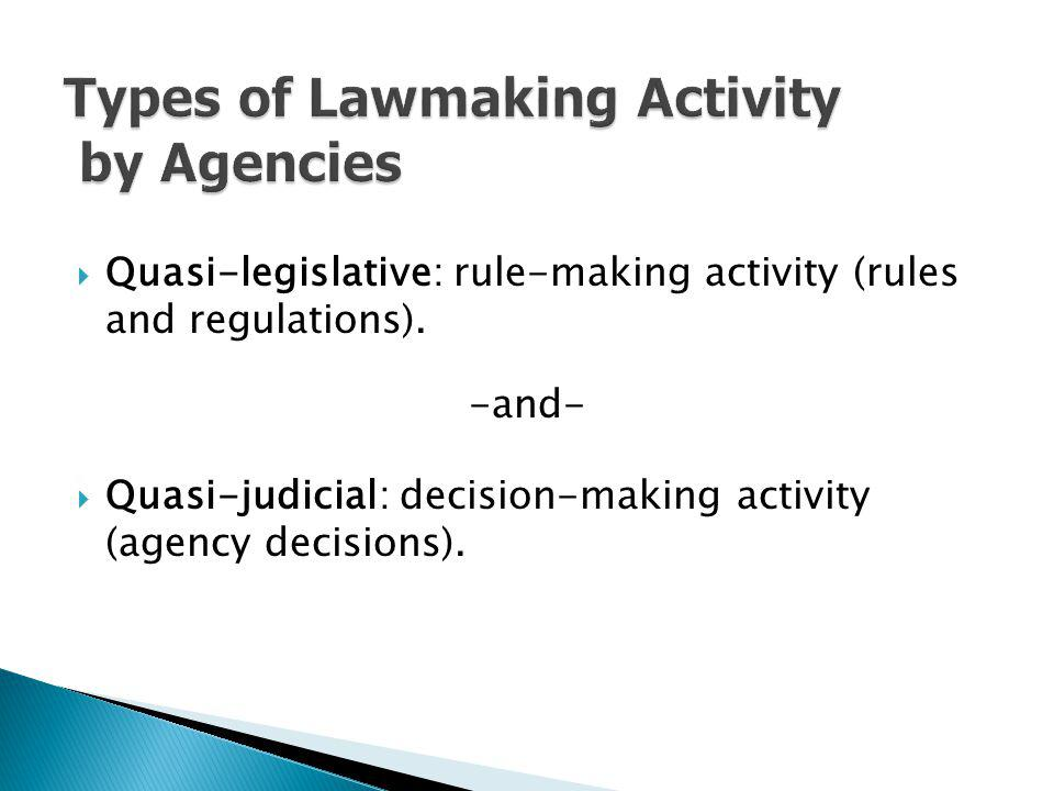 Types of Lawmaking Activity by Agencies