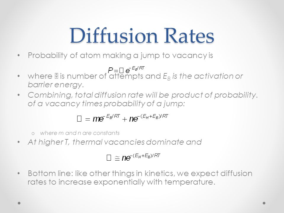 Diffusion Rates Probability of atom making a jump to vacancy is