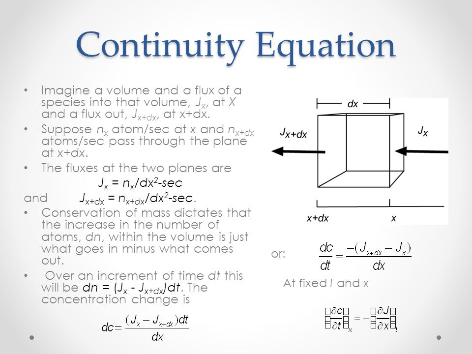 Continuity Equation Imagine a volume and a flux of a species into that volume, Jx, at X and a flux out, Jx+dx, at x+dx.
