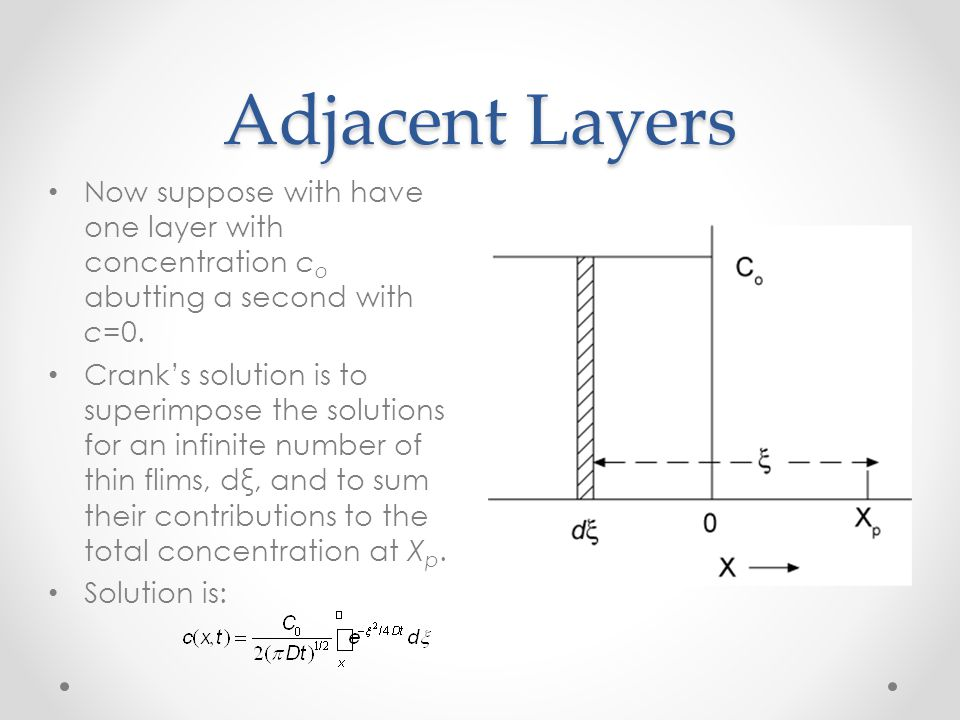 Adjacent Layers Now suppose with have one layer with concentration co abutting a second with c=0.
