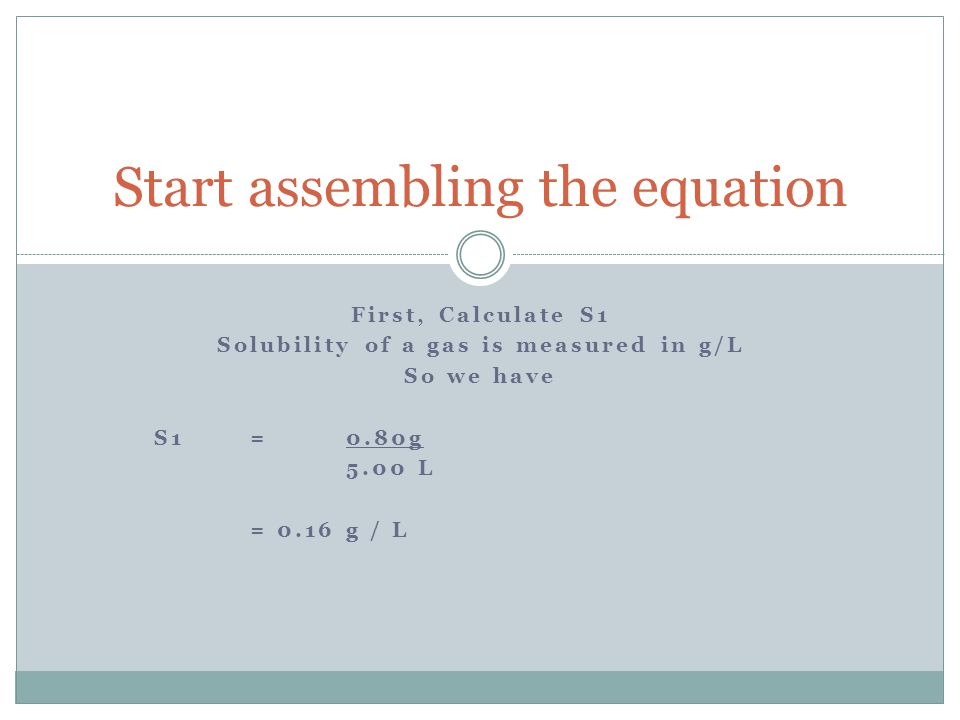 Start assembling the equation