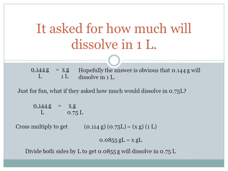 It asked for how much will dissolve in 1 L.