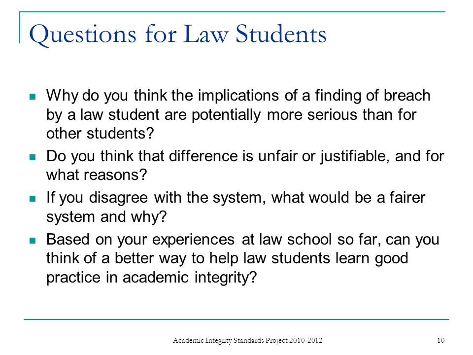 Questions for Law Students