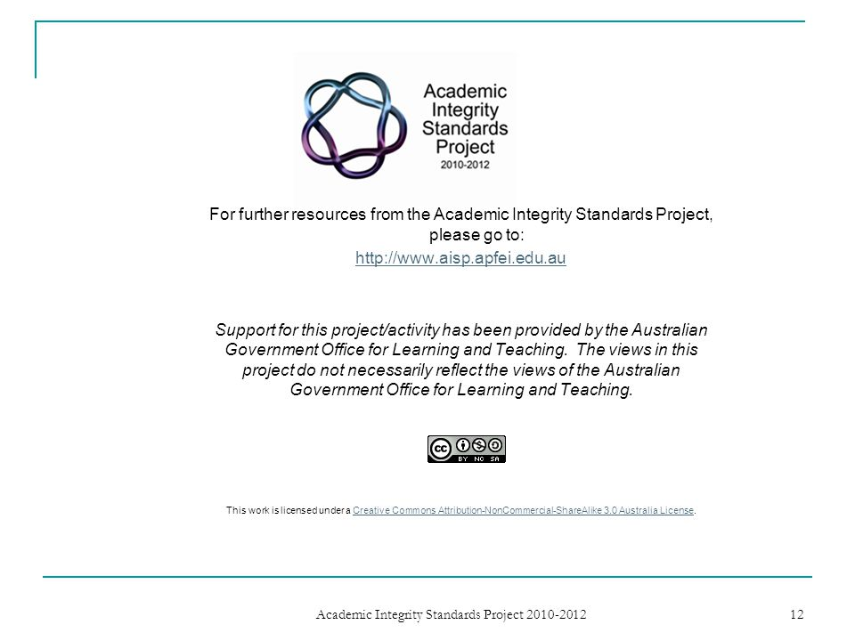 Academic Integrity Standards Project 2010-2012