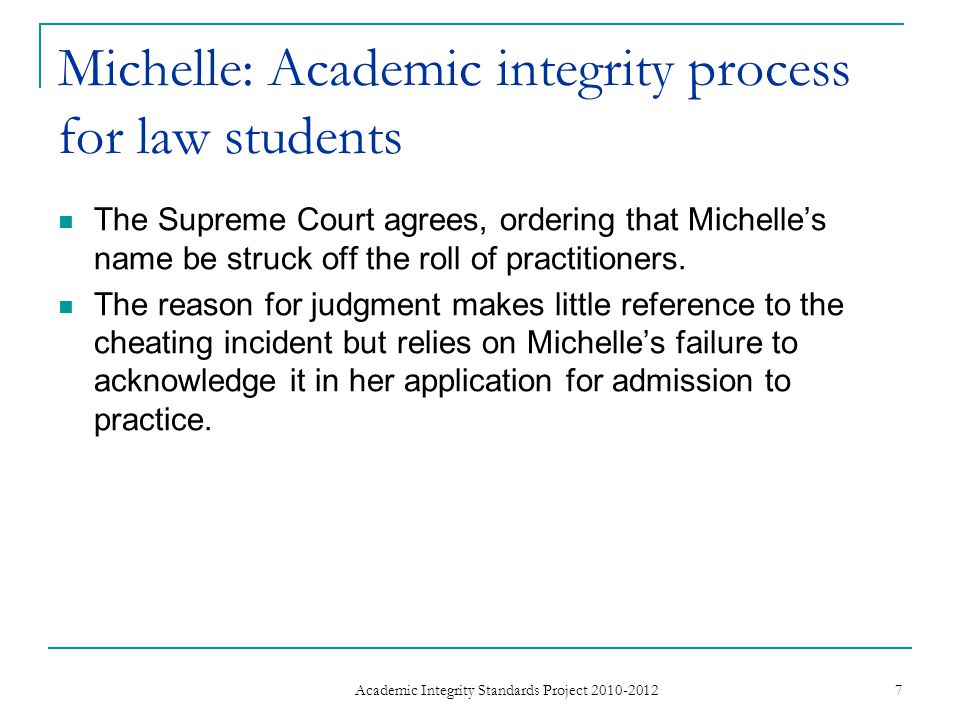 Michelle: Academic integrity process for law students