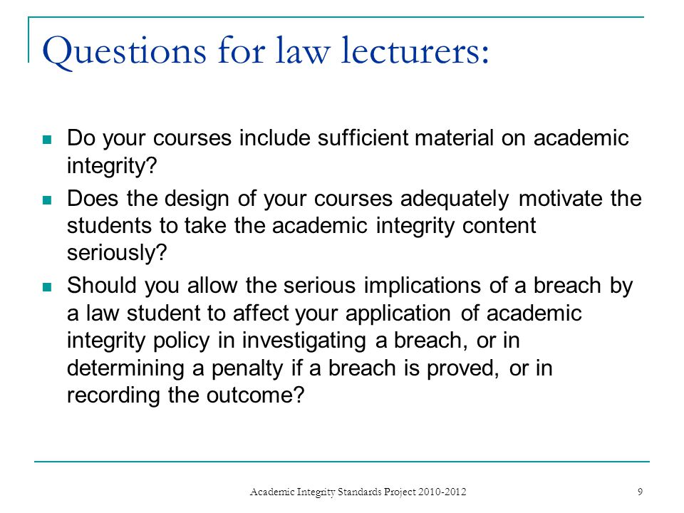 Questions for law lecturers: