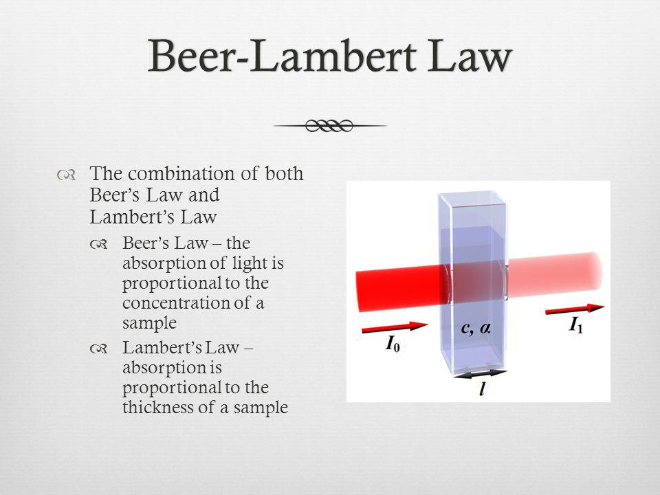 Beer-Lambert Law The combination of both Beer's Law and Lambert's Law