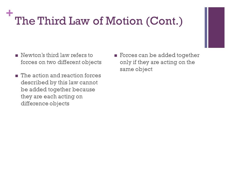 The Third Law of Motion (Cont.)