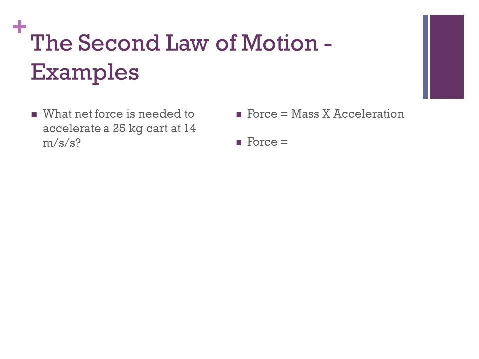 The Second Law of Motion - Examples