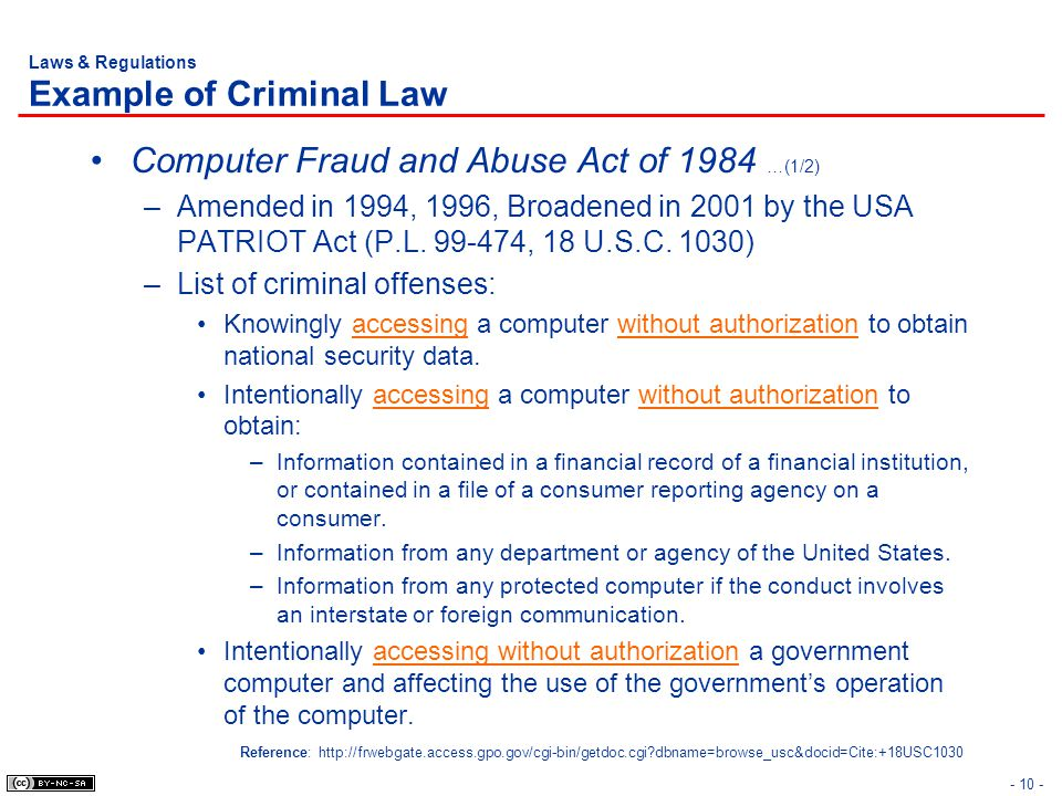 Laws & Regulations Example of Criminal Law