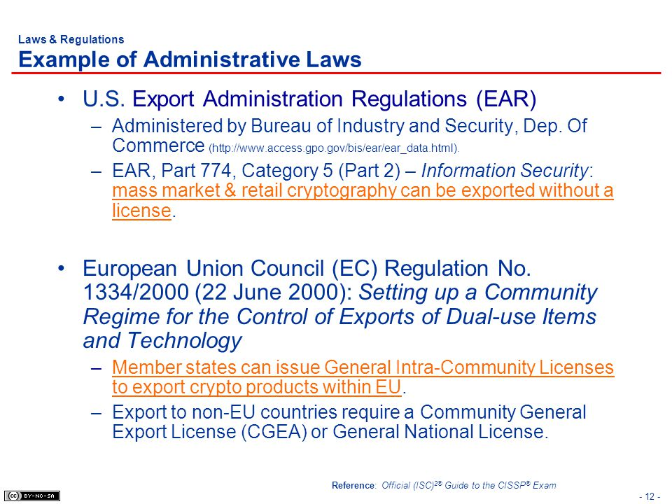 Laws & Regulations Example of Administrative Laws