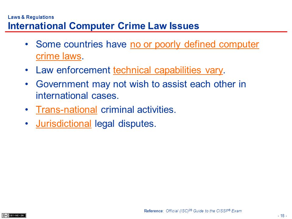 Laws & Regulations International Computer Crime Law Issues