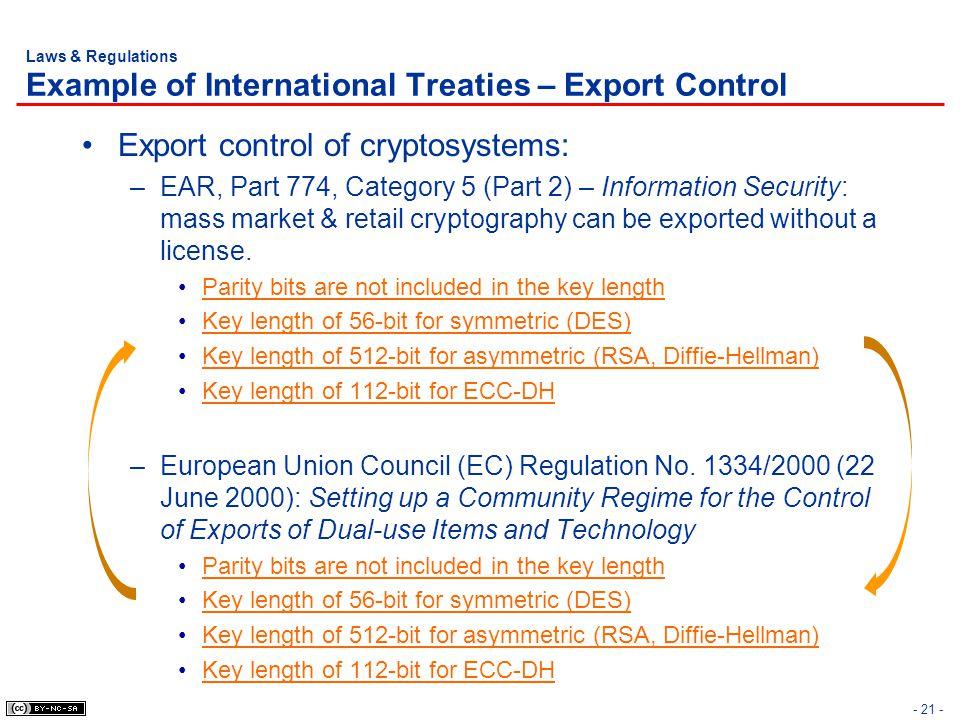 Laws & Regulations Example of International Treaties – Export Control