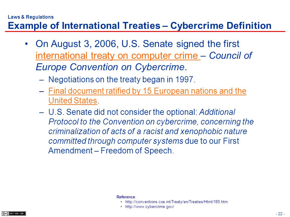 Laws & Regulations Example of International Treaties – Cybercrime Definition