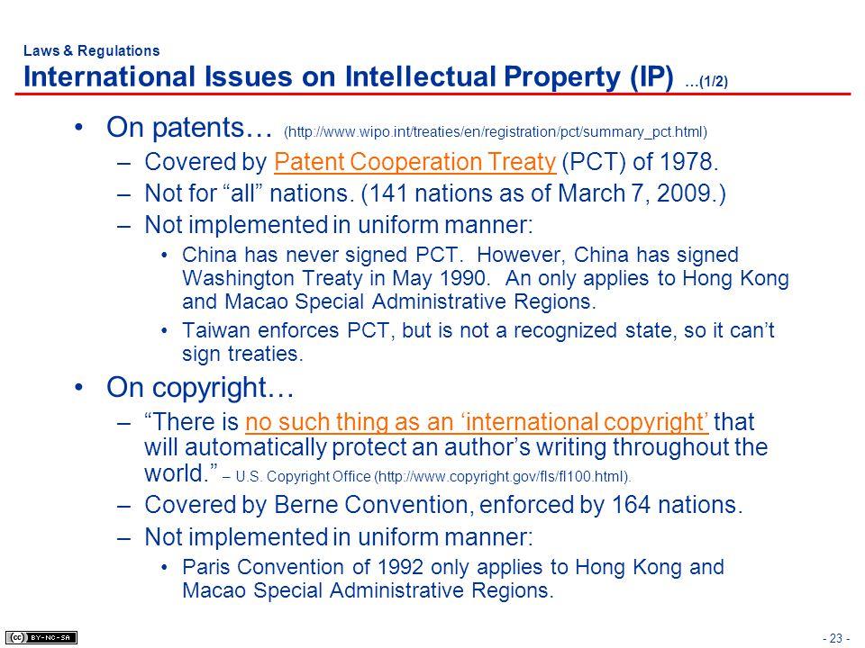Laws & Regulations International Issues on Intellectual Property (IP) …(1/2)