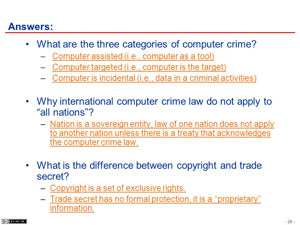 What are the three categories of computer crime