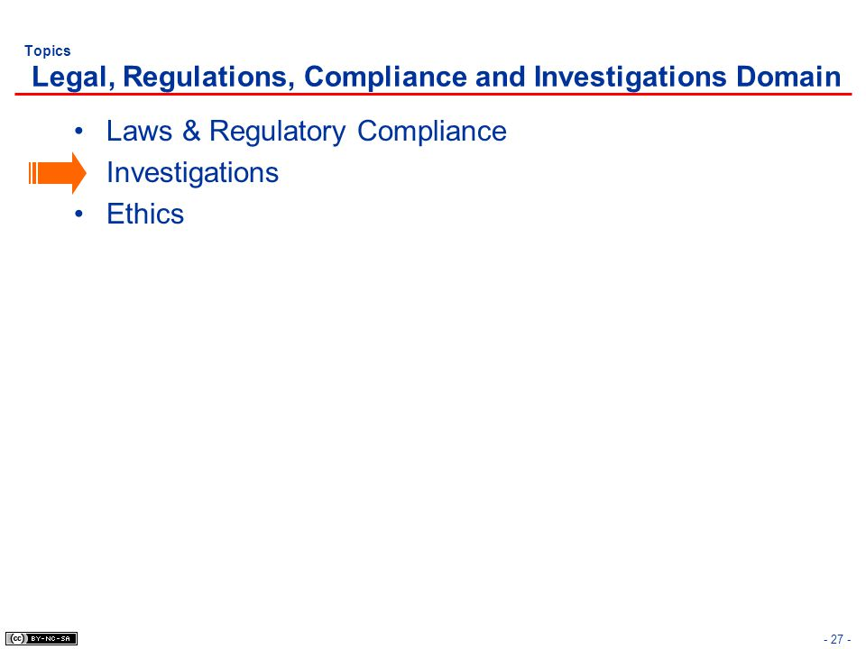 Topics Legal, Regulations, Compliance and Investigations Domain