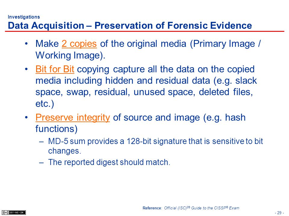 Investigations Data Acquisition – Preservation of Forensic Evidence