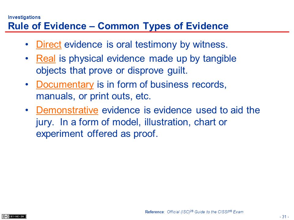 Investigations Rule of Evidence – Common Types of Evidence