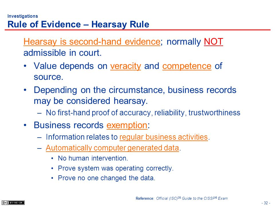 Investigations Rule of Evidence – Hearsay Rule