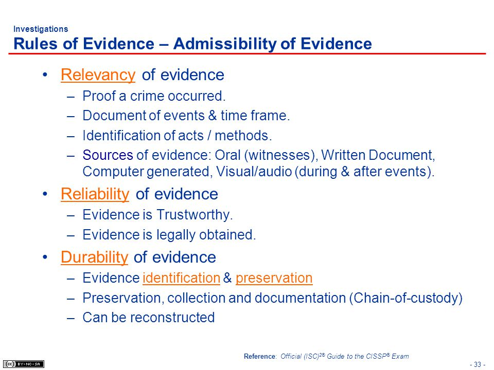 Investigations Rules of Evidence – Admissibility of Evidence