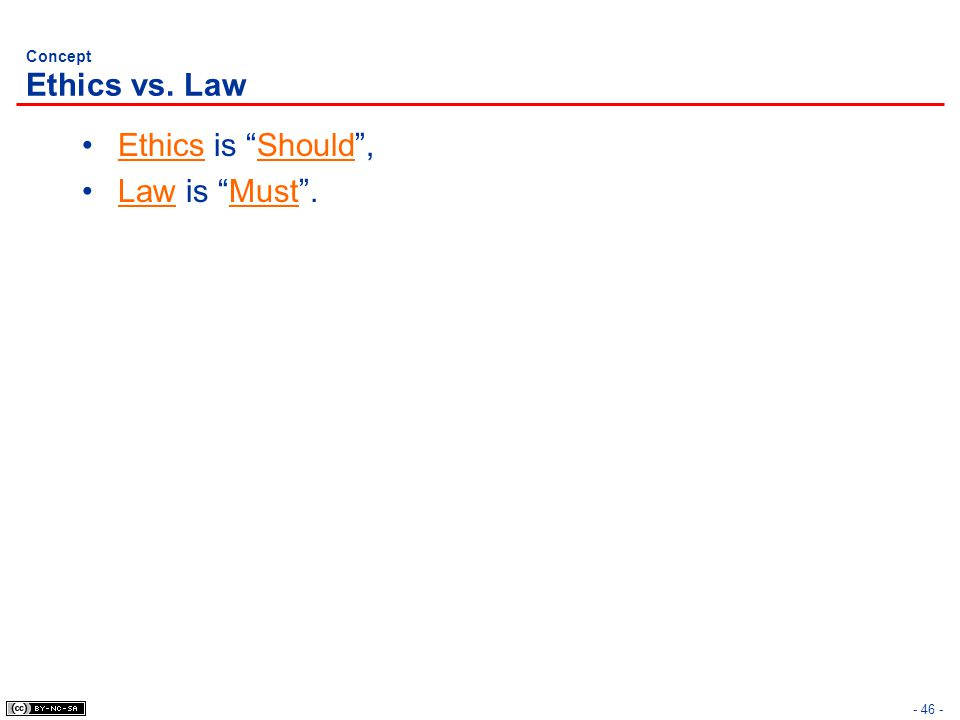 Concept Ethics vs. Law Ethics is Should , Law is Must .