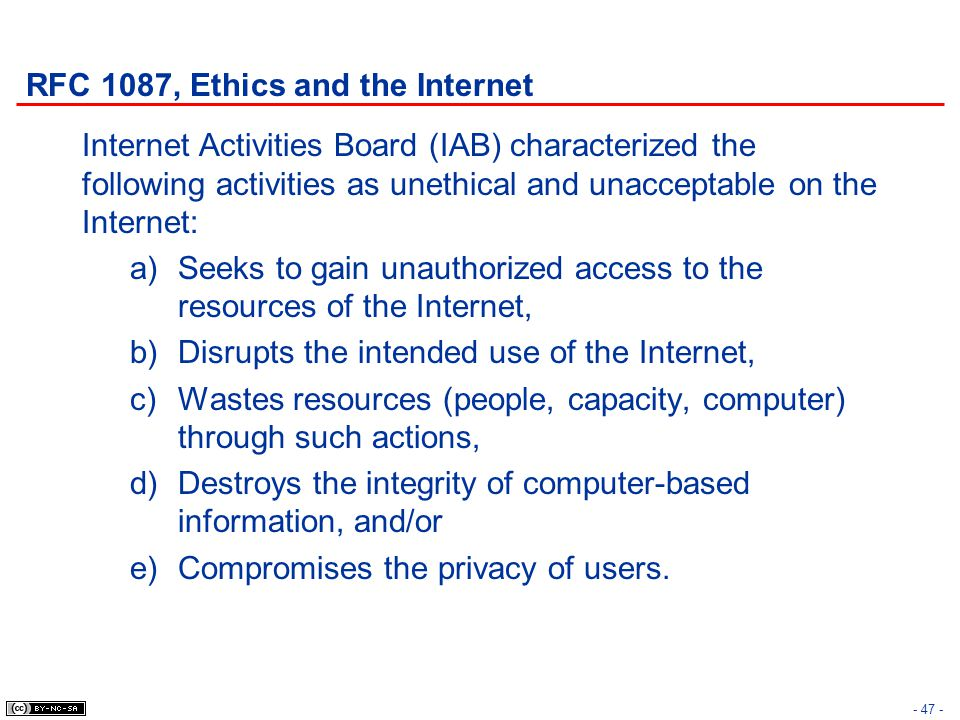 RFC 1087, Ethics and the Internet