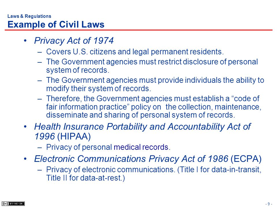 Laws & Regulations Example of Civil Laws