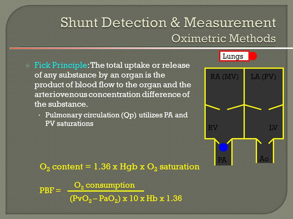 Shunt Detection & Measurement Oximetric Methods