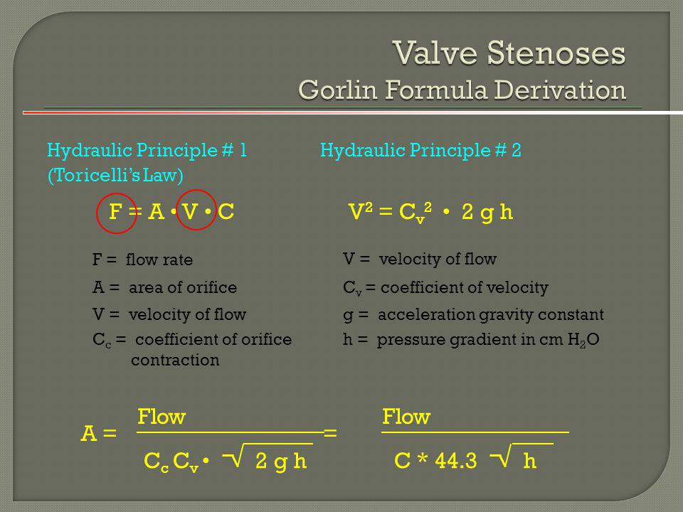 Valve Stenoses Gorlin Formula Derivation