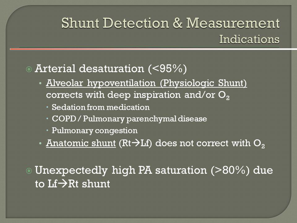 Shunt Detection & Measurement Indications