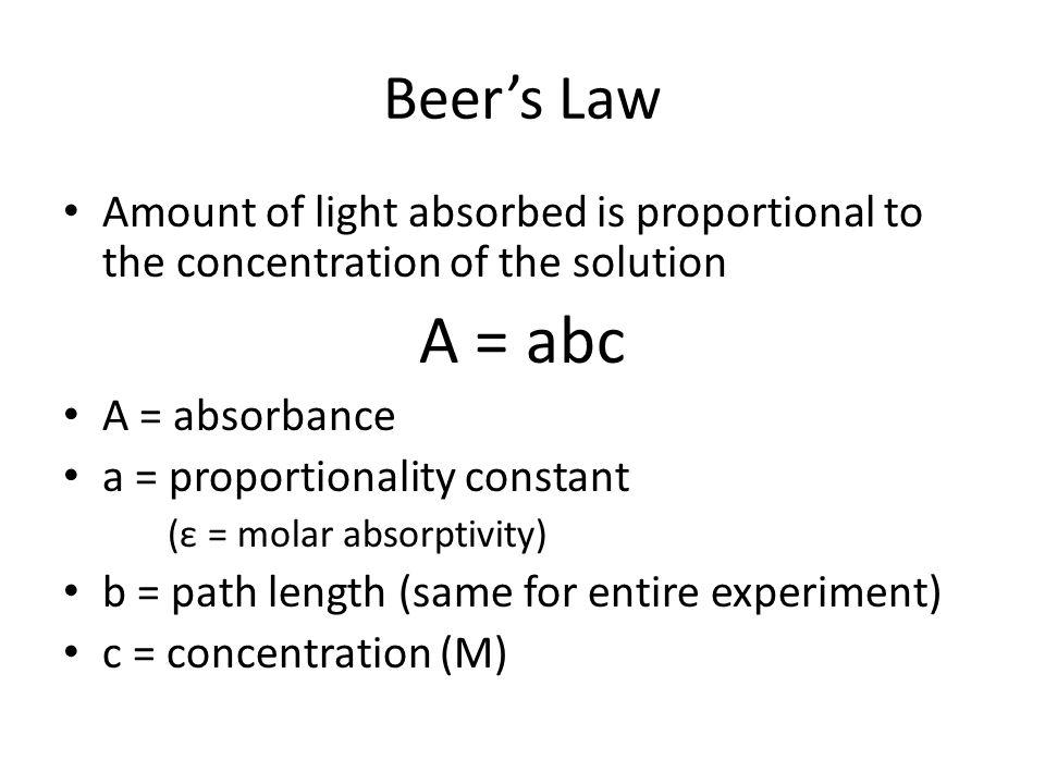 beer s law Determining the concentration of a solution: beer's law science with ti-nspire technology 21 - 3 8 you are now ready to collect absorbance-concentration data for.