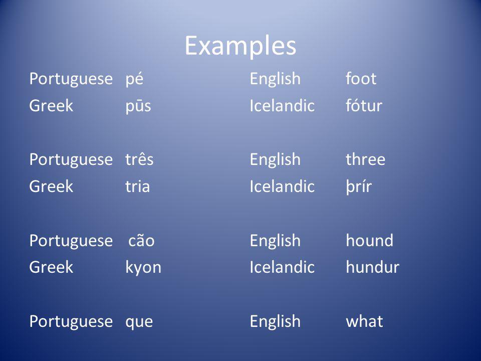 Examples Portuguese pé Greek pūs Portuguese três Greek tria Portuguese cão Greek kyon Portuguese que Icelandic hvað