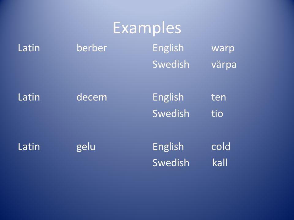 Examples Latin berber Latin decem Latin gelu