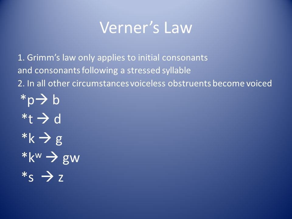 Verner's Law *t  d *k  g *kw  gw *s  z