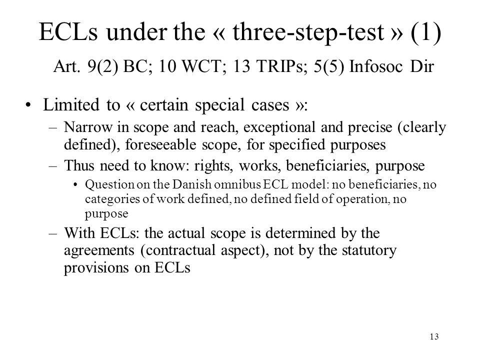 ECLs under the « three-step-test » (1) Art