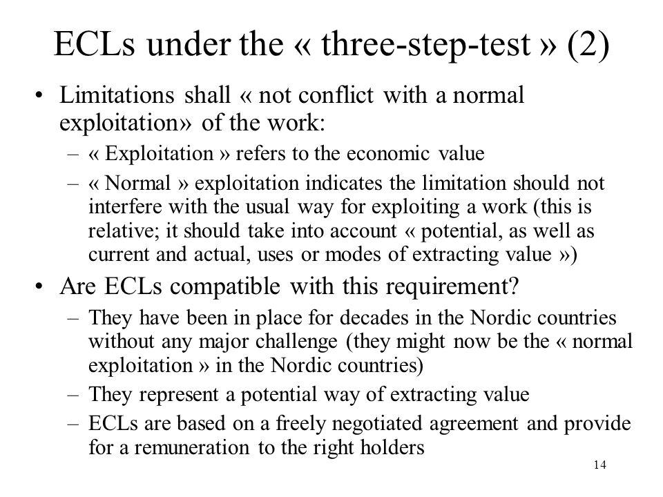 ECLs under the « three-step-test » (2)