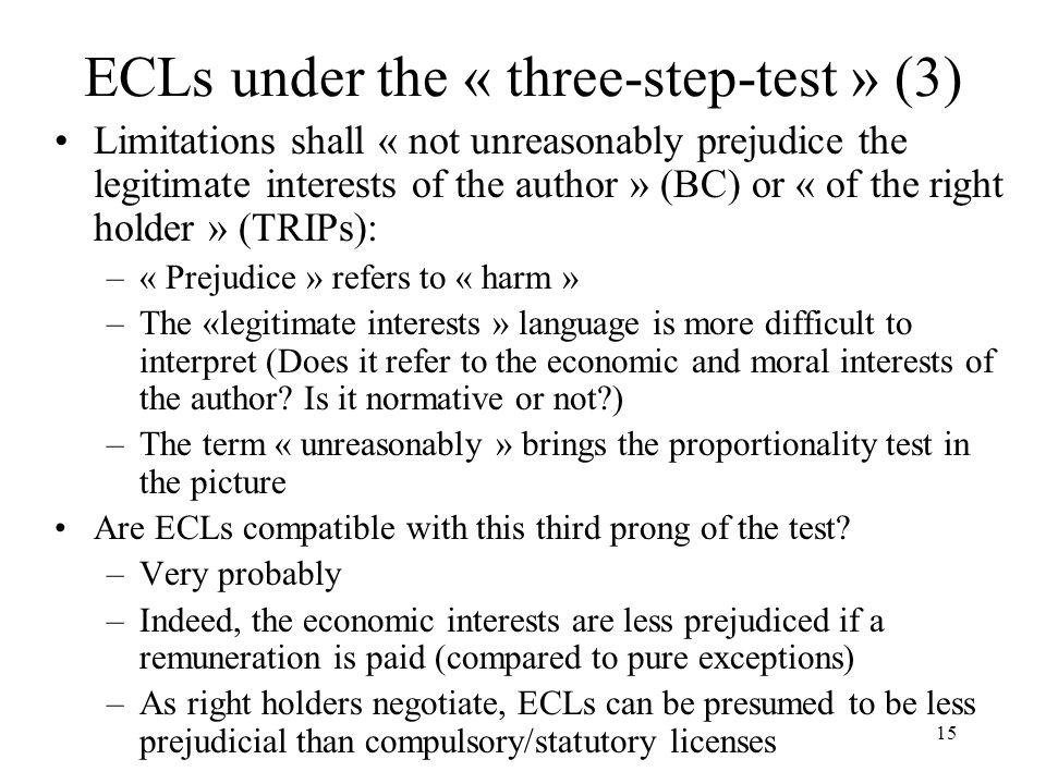 ECLs under the « three-step-test » (3)
