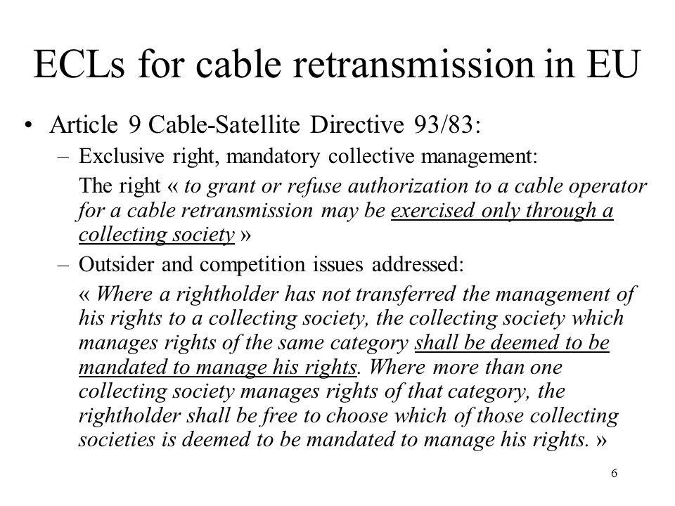 ECLs for cable retransmission in EU