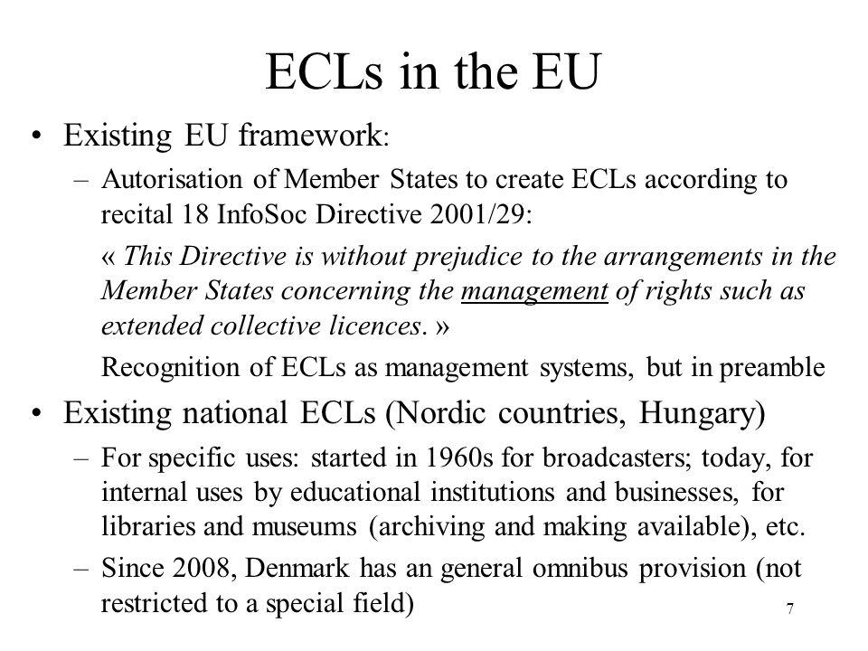 ECLs in the EU Existing EU framework: