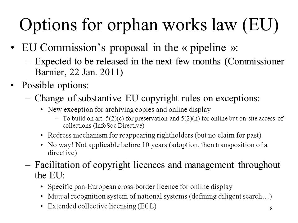 Options for orphan works law (EU)