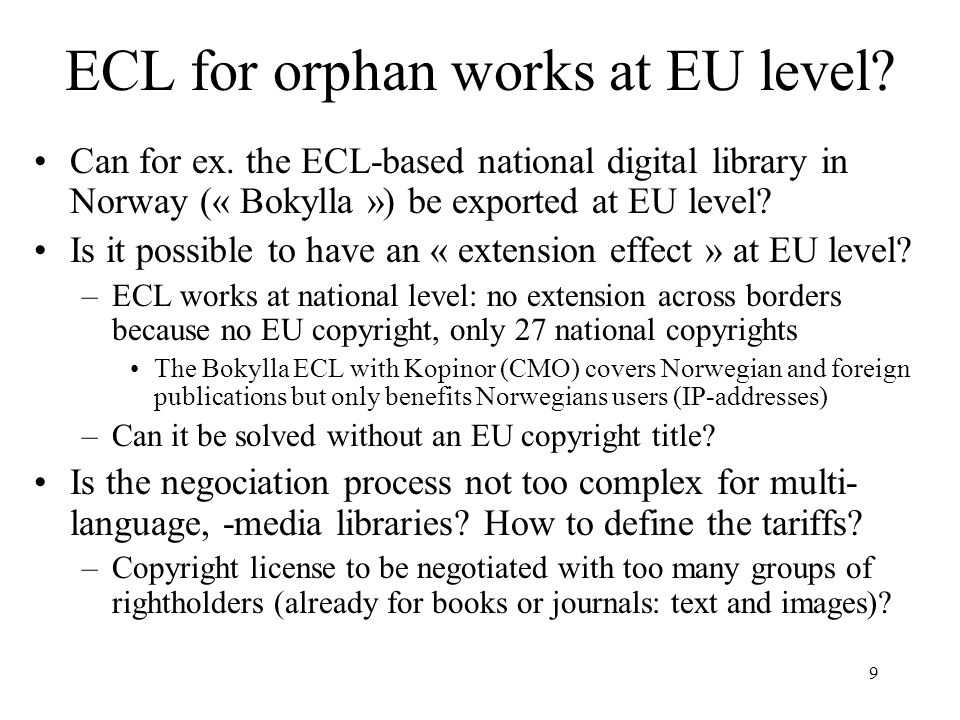 ECL for orphan works at EU level