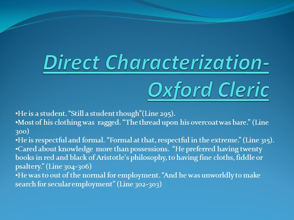 Direct Characterization-Oxford Cleric