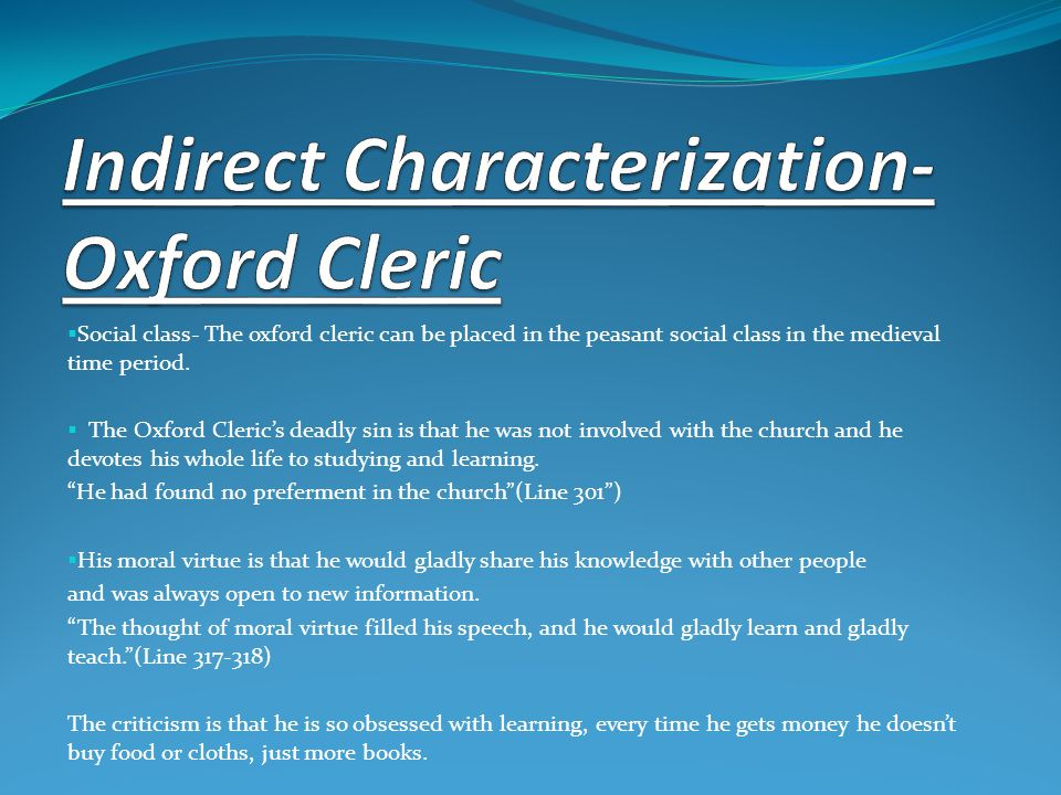 Indirect Characterization-Oxford Cleric