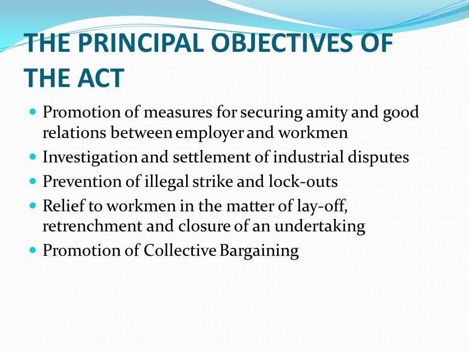 THE PRINCIPAL OBJECTIVES OF THE ACT